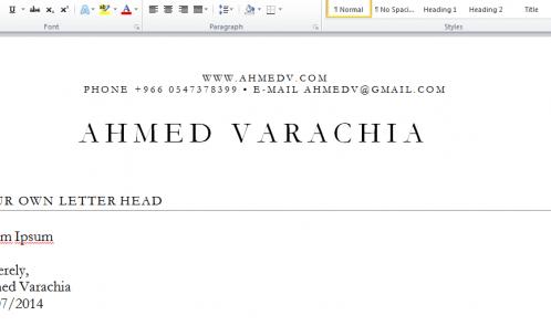 Ahmedv Letter Head