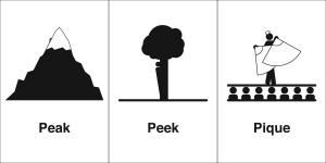 peak peek pique